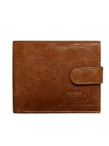 0206a919f93fb Brązowy skórzany portfel męski z tłoczonym emblematem - Mężczyźni ...