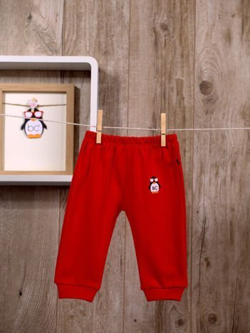 Praktyczne niemowlęce  bawełniane spodnie dresowe w gumkę dla chłopca i dziewczynki czerwone