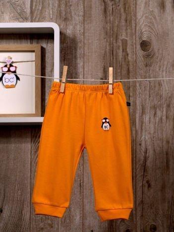 Praktyczne niemowlęce  bawełniane spodnie dresowe w gumkę dla chłopca i dziewczynki pomarańczowe