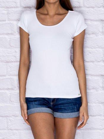 Prążkowany t-shirt lace up biały
