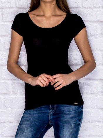 Prążkowany t-shirt lace up czarny