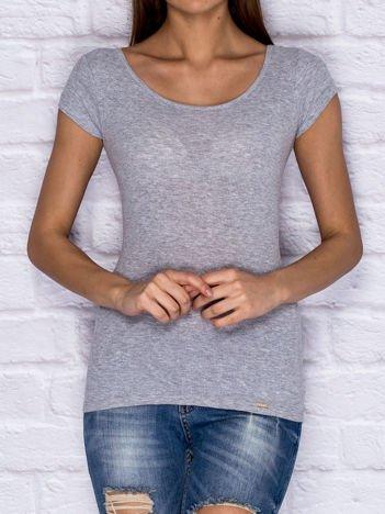 Prążkowany t-shirt lace up szary
