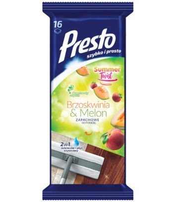 Presto Ściereczka czyszcząca + płyn 2 w 1 do podłóg Brzoskwinia & Melon  1 op.-16 szt