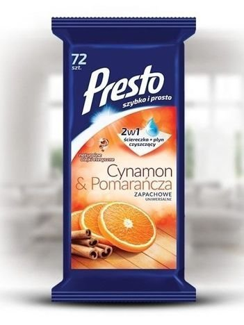 Presto Uniwersalne ściereczki czyszczące + płyn 2 w 1 Cynamon & Pomarańcza  1 op.- 72 szt