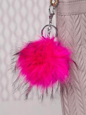 Puchaty brelok do kluczy,zawieszka do torebki neonowy róż + czerń (podwójne zapięcie kółko+ karabińczyk)