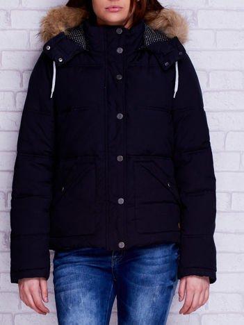 ROXY Czarna ocieplana kurtka z futrzanym kołnierzem