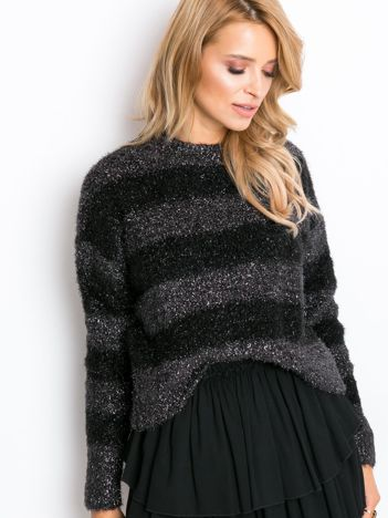 RUE PARIS Czarno-szary sweter Divine