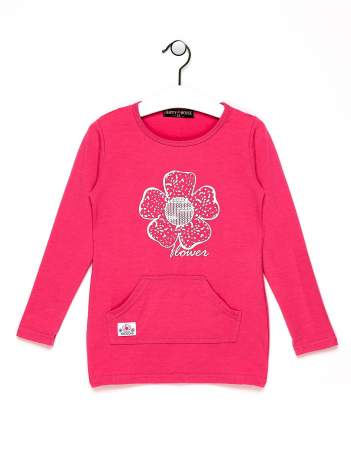 Różowa bluzka dla dziewczynki z kwiatkiem