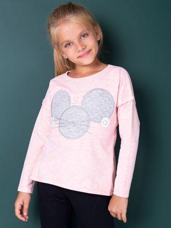 Różowa bluzka dla dziewczynki z pikowaną wstawką
