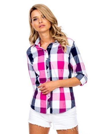Różowa koszula w kolorową kratkę