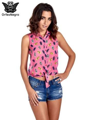 Różowa koszula z wiązaniem w ananasy