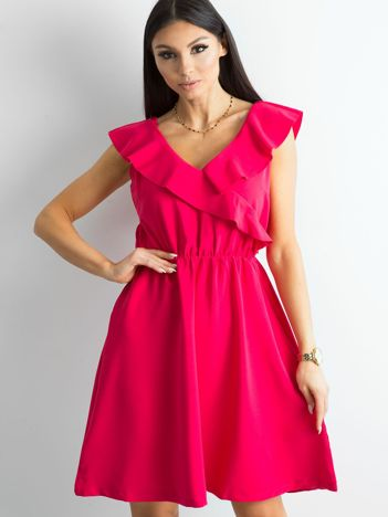 Różowa sukienka damska z falbanami