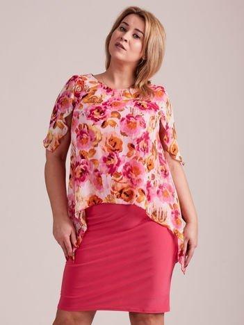 Różowa sukienka z szyfonową kwiatową górą PLUS SIZE