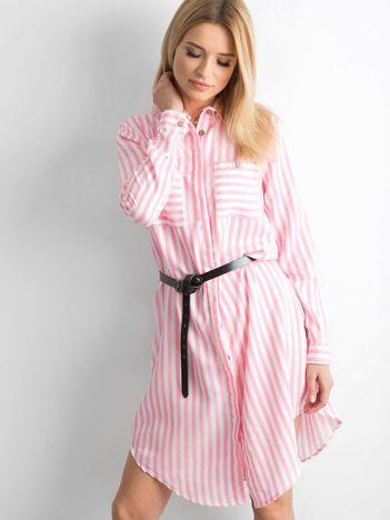 Różowa szmizjerka koszulowa w paski