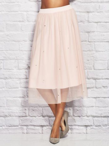 Różowa tiulowa spódnica midi z perełkami