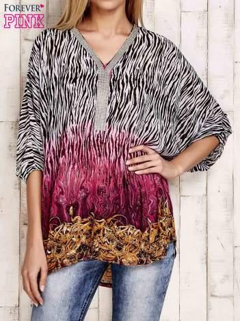 Różowa wzorzysta koszula oversize z dekoltem z cyrkonii