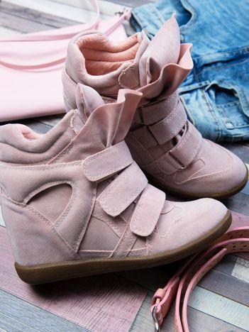 Różowe zamszowe sneakersy na rzepy Leni