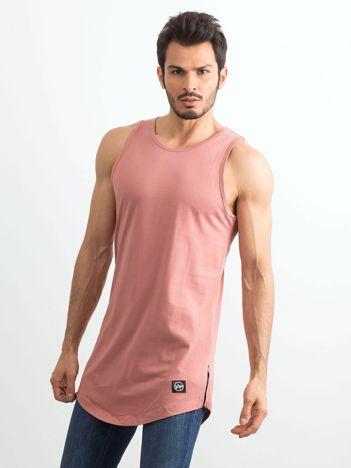 Różowo-brązowy długi tank top męski