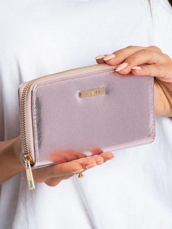 Różowo-srebrny portfel z połyskiem