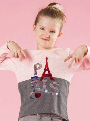 Różowo-szara bluzka dziewczęca z cekinami
