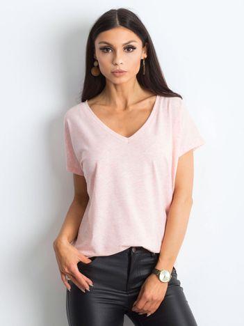 Różowy melanżowy t-shirt Emory