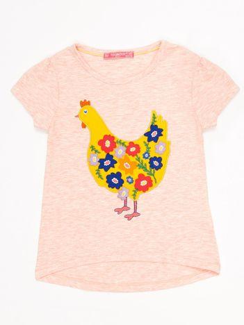 Różowy melanżowy t-shirt dziewczęcy z naszywką kury