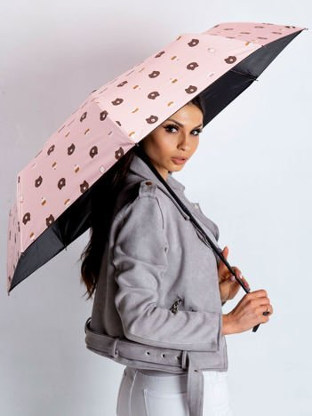 Różowy parasol z nadrukiem