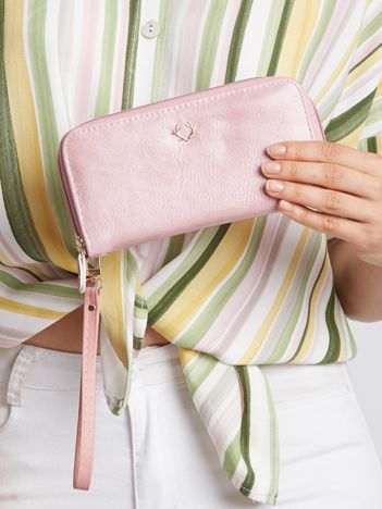 Różowy portfel na suwak