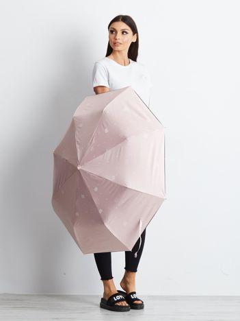 Różowy składany parasol