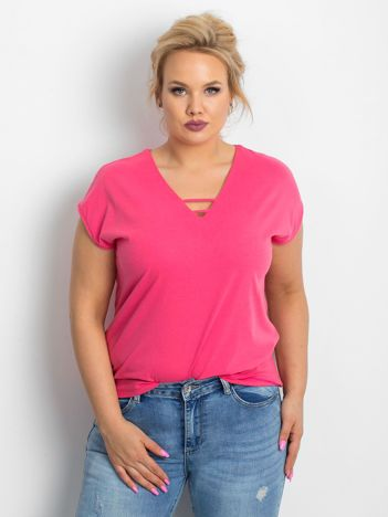 Różowy t-shirt plus size Darlyne