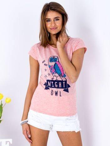 Różowy t-shirt z sową
