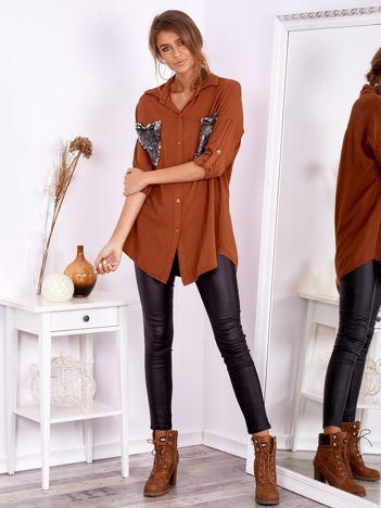 SCANDEZZA Brązowa koszula oversize z cekinowymi kieszeniami