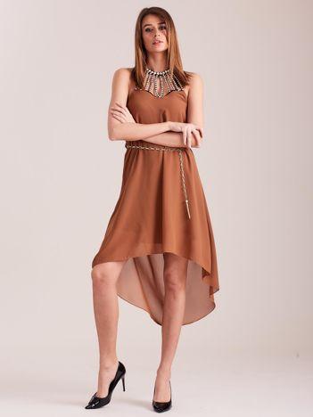 SCANDEZZA Brązowa sukienka z aplikacją