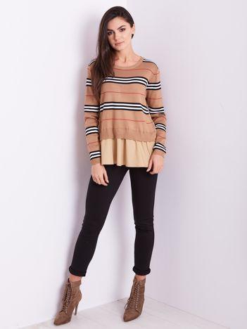 SCANDEZZA Brązowy sweter z koszulą