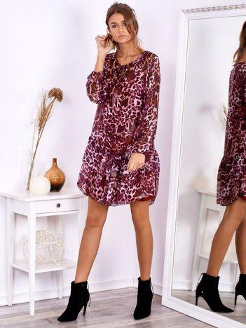 SCANDEZZA Ciemnoróżowa sukienka w panterkę z jedwabiem