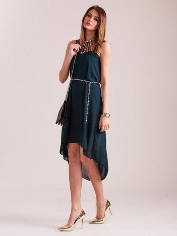 SCANDEZZA Ciemnozielona sukienka z aplikacją