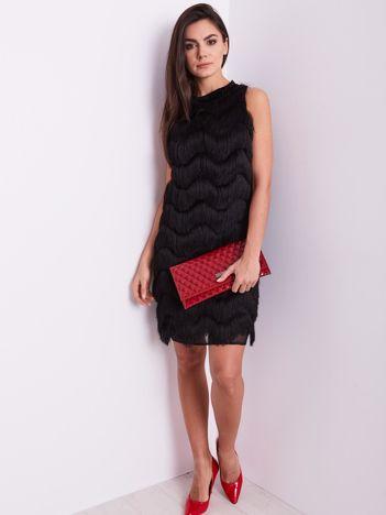 SCANDEZZA Czarna sukienka z frędzlami