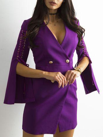 SCANDEZZA Fioletowa sukienka z rozcięciami
