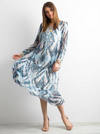 SCANDEZZA Niebieska sukienka maxi we wzory