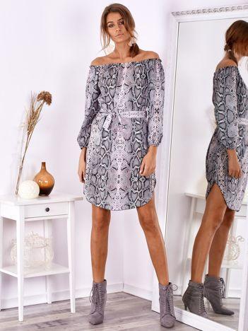 SCANDEZZA Szaro-różowa sukienka hiszpanka w wężowe wzory z paskiem