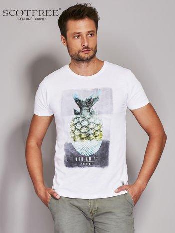 SCOTFREE Biały t-shirt męski z nadrukiem