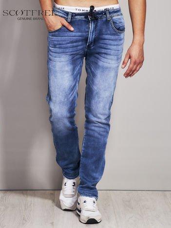 SCOTFREE Jasnoniebieskie jeansy męskie z troczkami