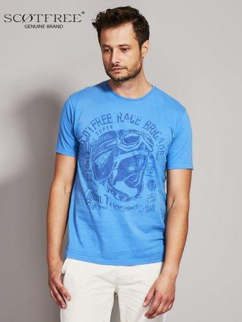 SCOTFREE Niebieski t-shirt męski z nadrukiem vintage
