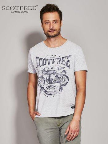 SCOTFREE Szary t-shirt męski z motocyklem