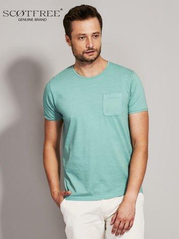 SCOTFREE Zielony t-shirt męski z kieszonką