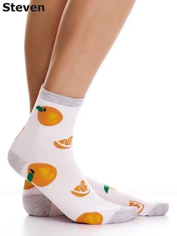 STEVEN Białe skarpety bawełniane we wzór pomarańczy