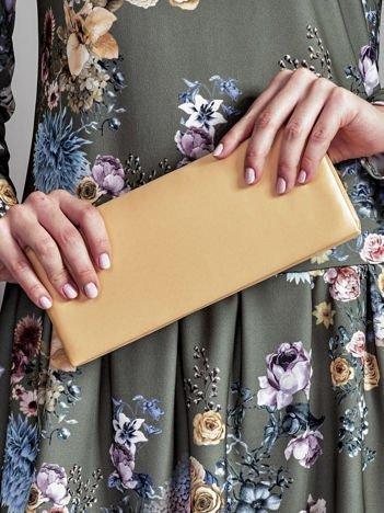 Satynowa gładka kopertówka z lusterkiem beżowa