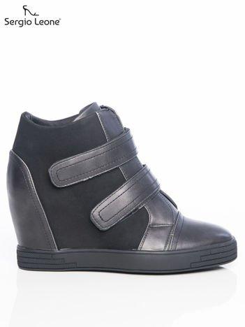 Sergio Leone Sneakersy czarne z ozdobnym zapięciem na rzepy