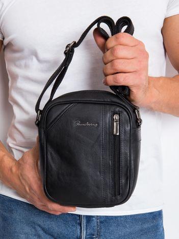 Skórzana torba męska listonoszka czarna