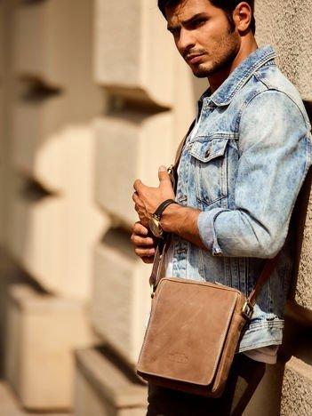 Skórzana torba męska na ramię brązowa